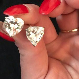 Heart Shaped Clear Stone Earrings
